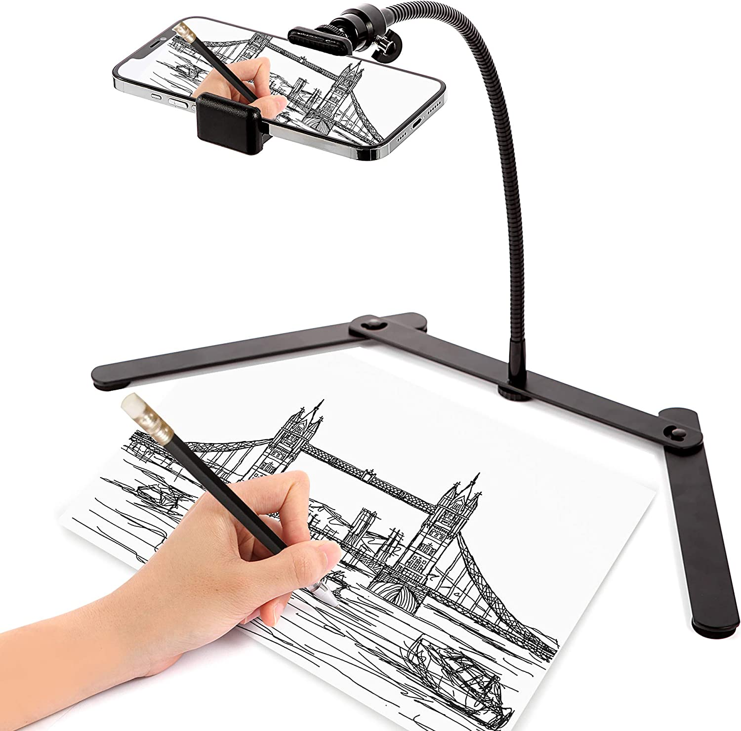 Ajustable Phone Tripod , Cellphone Holder, Overhead Phone Mount, Table Top Teaching Online Stand for Live Streaming and Online Video and Food Crafting Demo Drawing Sketching Recording Cook Recording