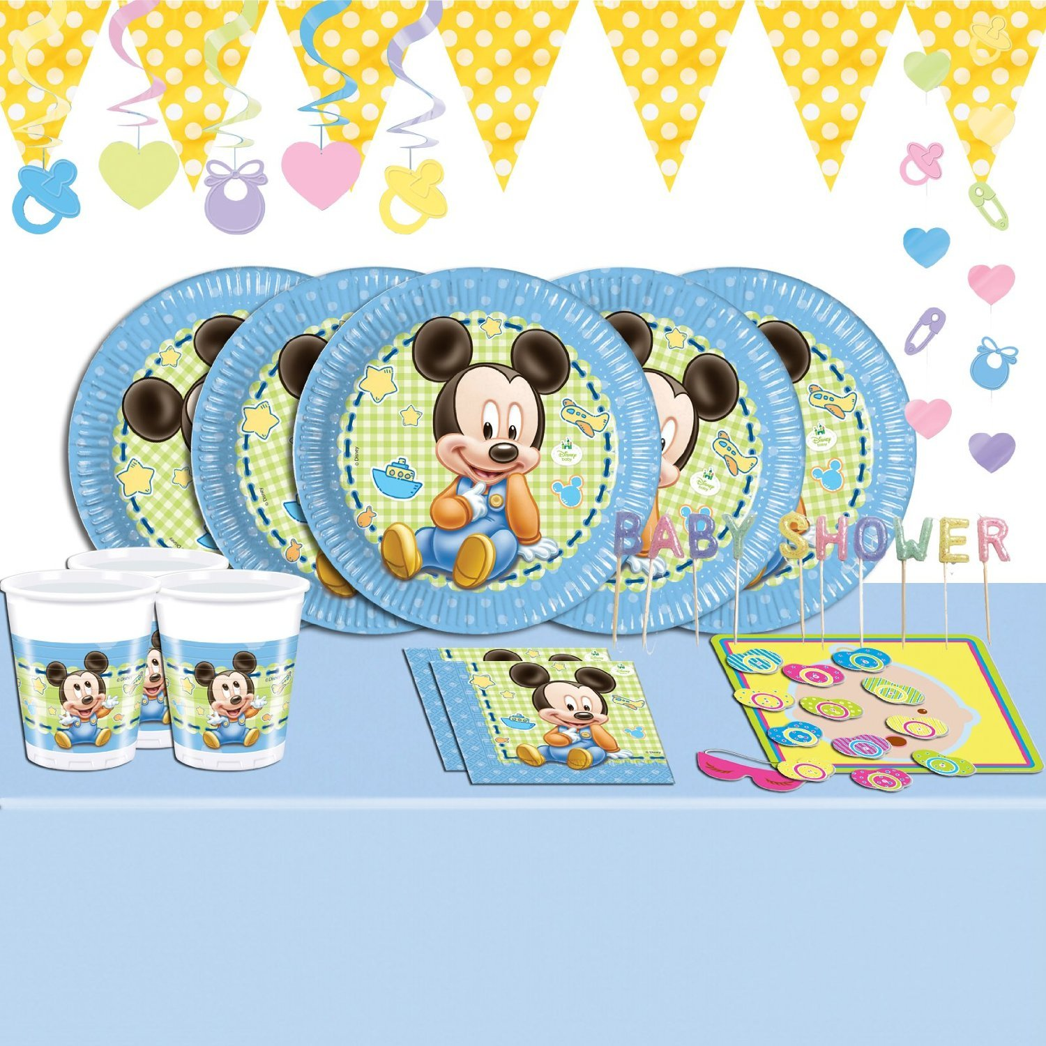 Baby Shower Mickey Mouse Deluxe Complete Party Supplies Kit For 16