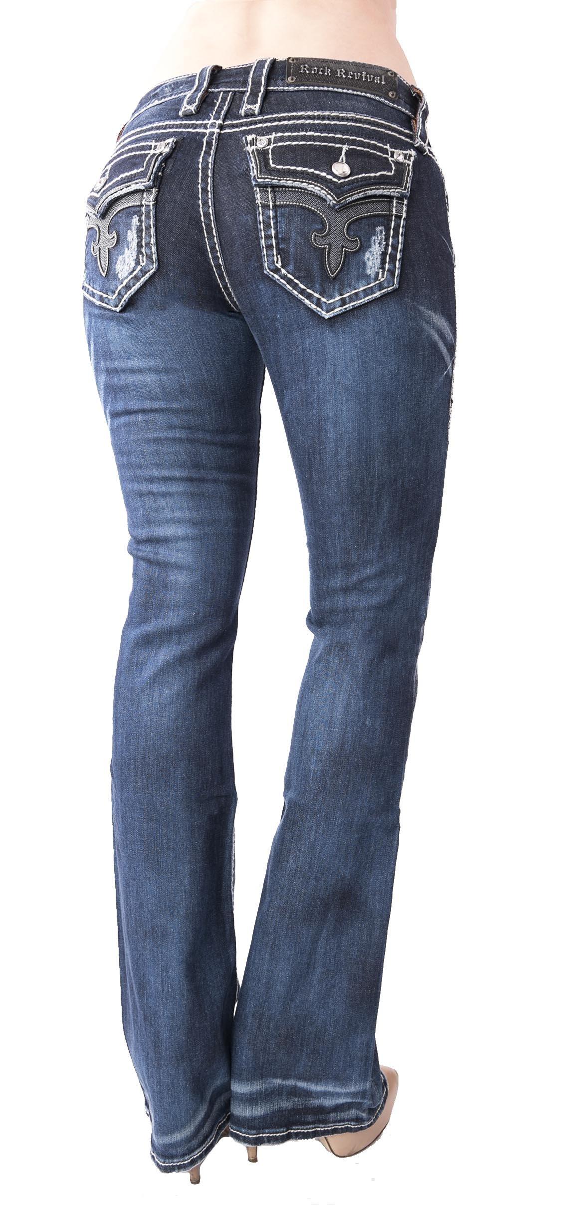 Rock Revival Jeans Women's Boot Cut Flap Pockets Leather Trim 33'' Inseam (25x33)