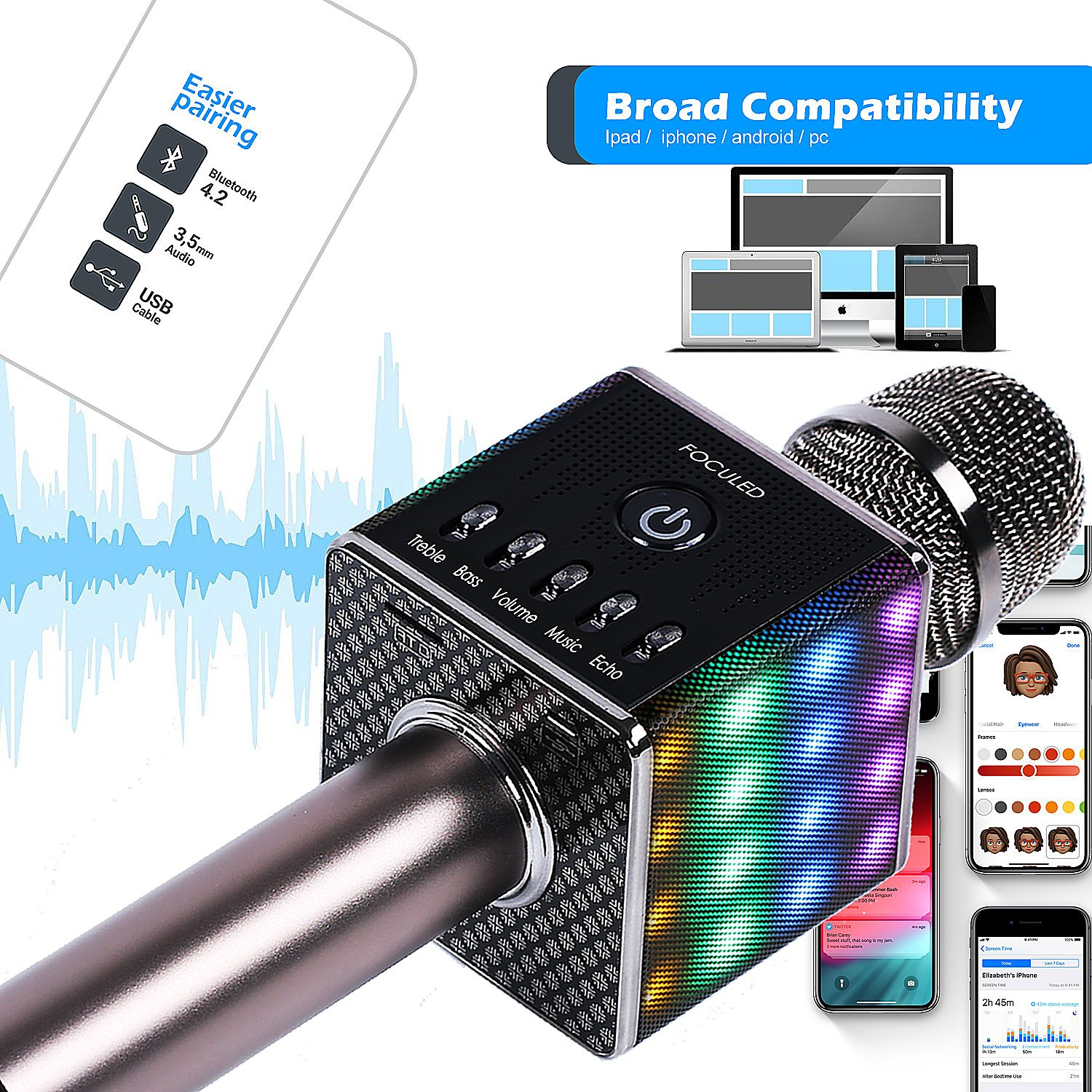 Portable Wireless Bluetooth Karaoke Microphone with LED lights, Built-in HIFI Dual-Speaker 10W and 2600mAH battery capacity, Handheld karaoke Mic Speaker Machine for Home KTV Birthday Party by FOCULED (Image #6)