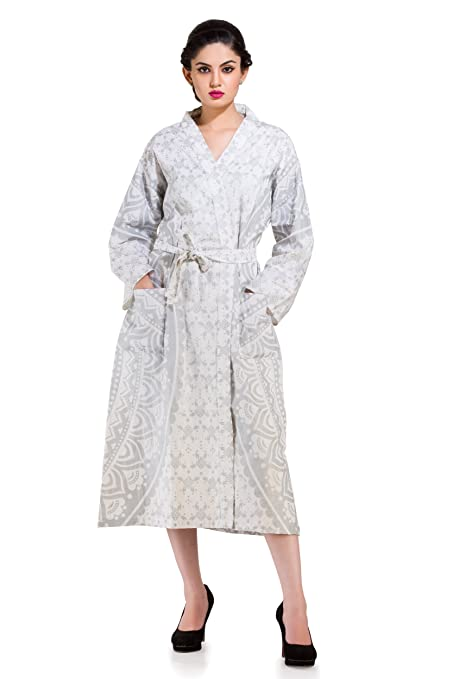 4fa5736579 Buy Handicraft-Palace Women s Cotton Ombre Mandala Printed Full Sleeves  Knee-Length Bath Robe with 2 Pockets (Silver and White
