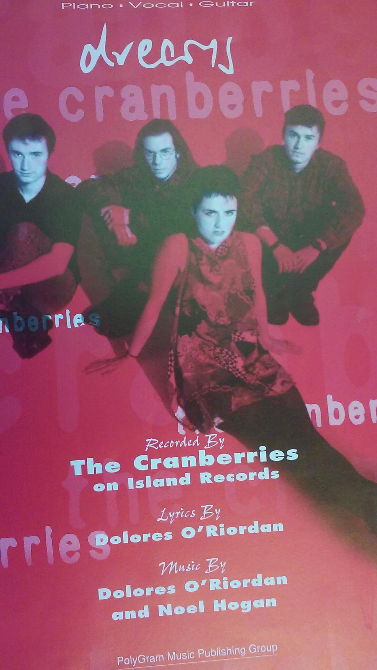 2eef44c061d2c Dreams (The Cranberries) - P V G Sheet Music - W Photo Cover Sheet music –  1992