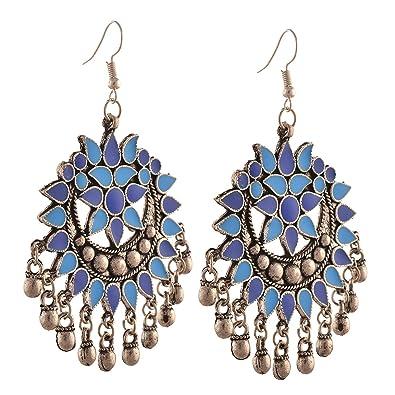 b829c47d0 Tiaraz Fashion Oxidized Silver Afghani Tribal Earrings for Women(Blue)