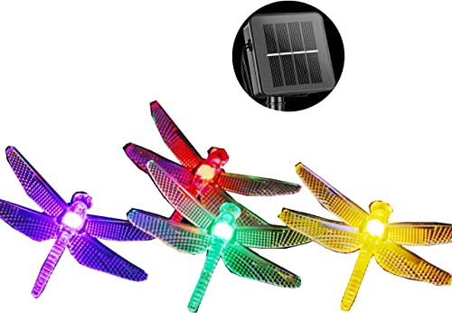 Solar Dragonfly String Light 30LED 21ft Garden Stake Lights Waterproof Outdoor Twinkle Fairy Lights with 8 Lighting Modes for Trees, Patio, Fence Christmas Decor Solar Powered, Multi