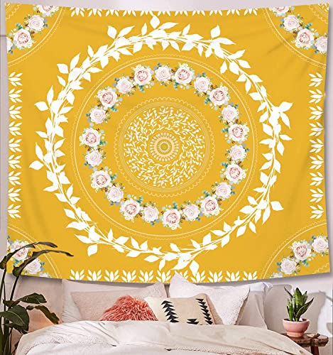 Floral Medallion Tapestry, Bohemian Mandala with Sketched Flower Wall Hanging Tapestries,Decor Blanket for Bedroom Home Dorm,Picnic Mat Blanket Bedspread Beach Towels Yoga mat Yellow, L 71 W 91 L