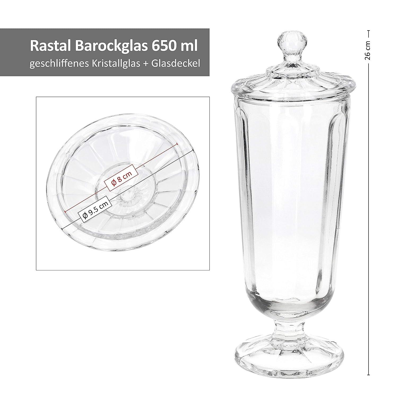 Rastal 6er-Set Original Barock-Gl/äser 650 ml Glasdeckel I Edler Kristallglasschliff I Eisbecher I Cocktailglas I antike Partykelche I Vintage-Look