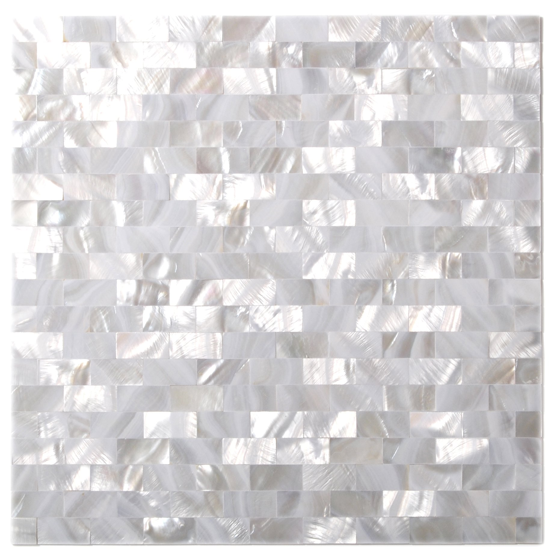 TST MOSAIC TILES Natural Mother Of Pearl Tiles White Subway Seamless 15 x 30 mm Chips-2mm Thick Mesh Mounted-Kitchen Backsplash Bath Wall Borders Art Mosaic Shell Tiles MOP02 (5 Square Feet)