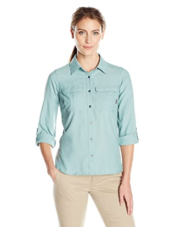 Columbia Camisa de manga larga Pilsner Peak Ii para mujer, Dusty Green Heather, X
