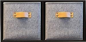 Functional Modern - Foldable Storage Bins - Collapsible Storage Cubes - Closet Storage - Organizer Basket - 2 Pack - Linen - 11 Inches High (Light Gray Felt, 10.5