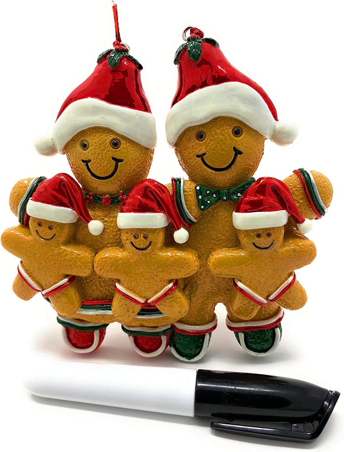 Gingerbread Man Ornaments Christmas Tree Ornament Mini Gingerbread Men Decorations Resin Kit Miniature Holiday Home Kitchen Decor | Black Pen Marker Included to Personalized Gingerman Family of 5