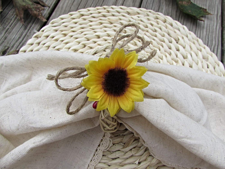 Fall Sunflower Burlap Napkin Ring Holders- Rattan Vine Wreath- Kitchen Dining Table Decor (Set of 4, 6, 8, 10, 12)