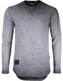 d0e59db64e ZIMEGO Mens Long Sleeve Crewneck Raw Cut Edge Oil Wash Vintage T-Shirts