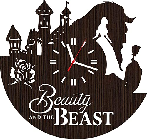 Handmade Wooden Wall Clock Beauty and The Beast Gifts for Men Women Girls her Wife mom Fans Movie Home Decor Wedding Love Story his and Hers Shower Rose Belle DVD Supplies Baby Costume Vinyl Disney