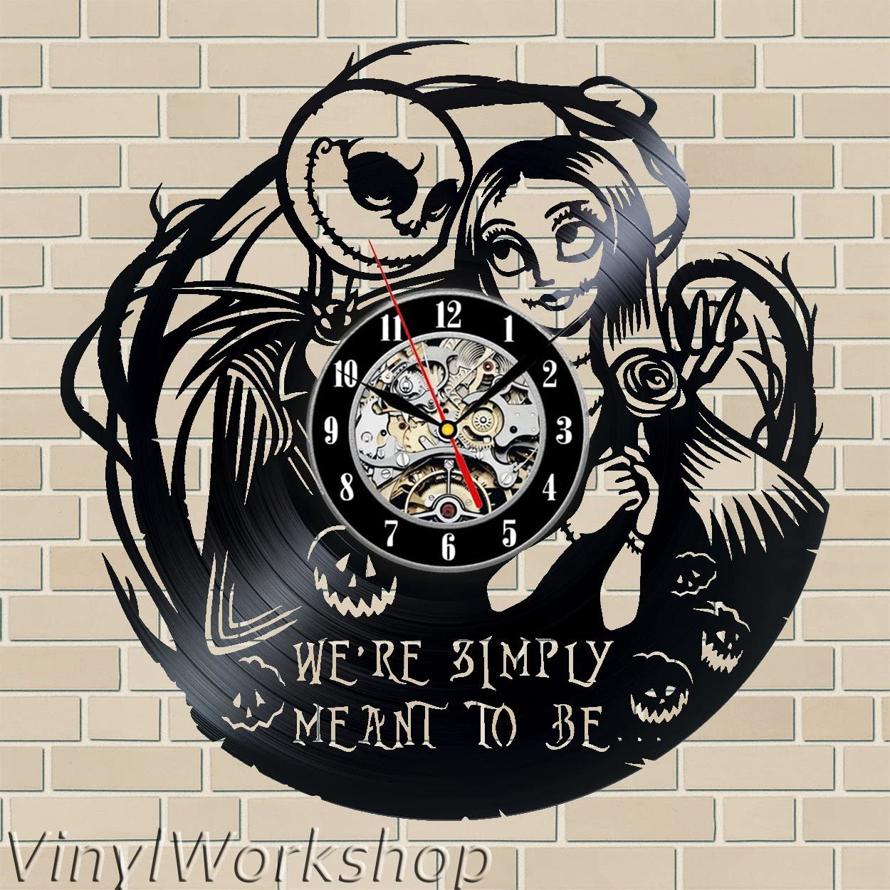 The Nightmare Before Christmas Vinyl Wall Clock 12 in 30cm Black Decor Modern Decorative Vinyl Record Wall Clock This Clock is A Unique Gift to Your Friends and Family for Any Occasion