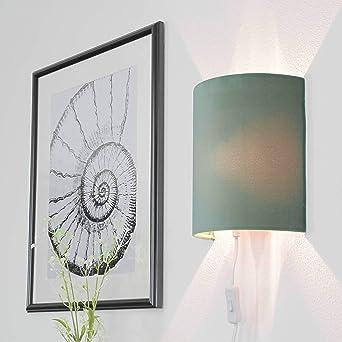 Grune Wandlampe Mit Stecker Schirm Aus Samt Elegante Wandleuchte