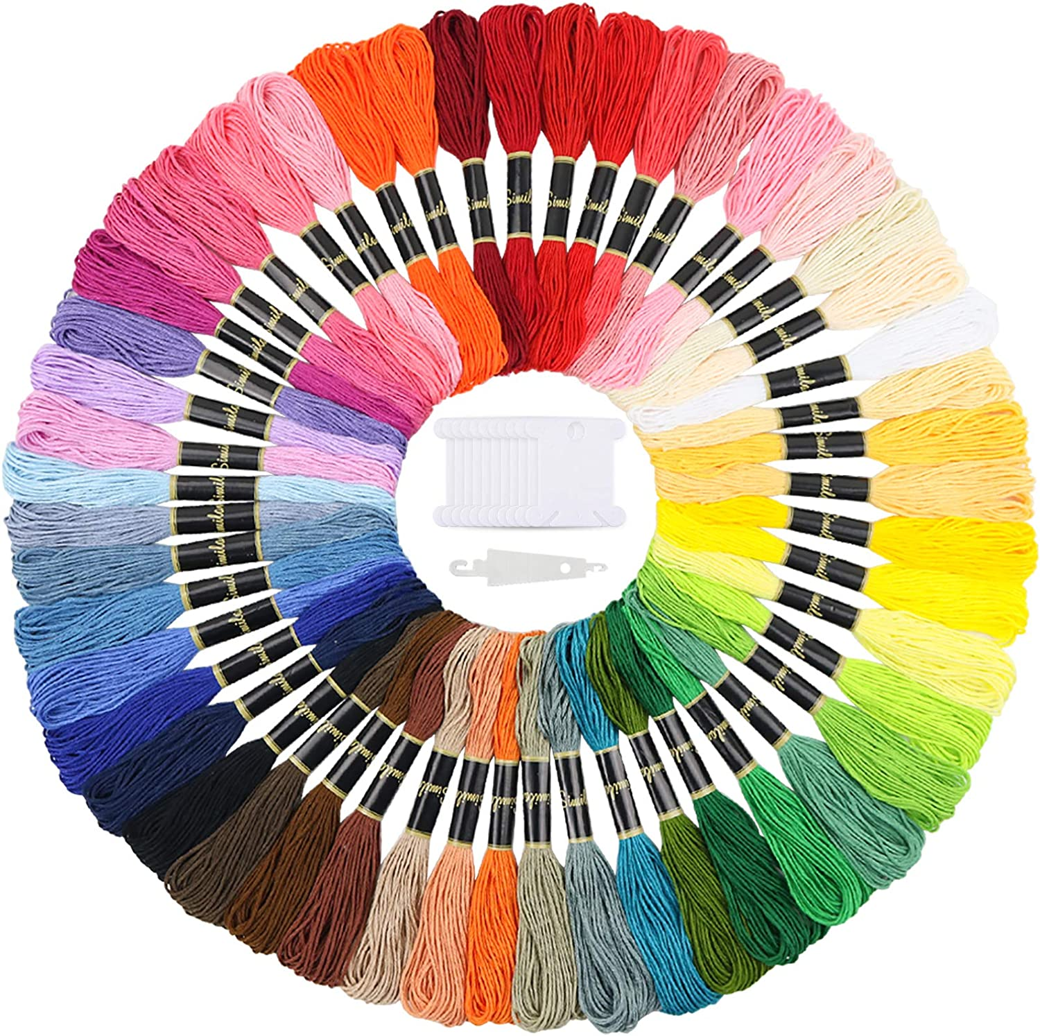 Cross Stitch Floss Embroidery Thread Embroidery Floss Rainbow Color 50 Skeins Per Pack for Friendship Bracelet String