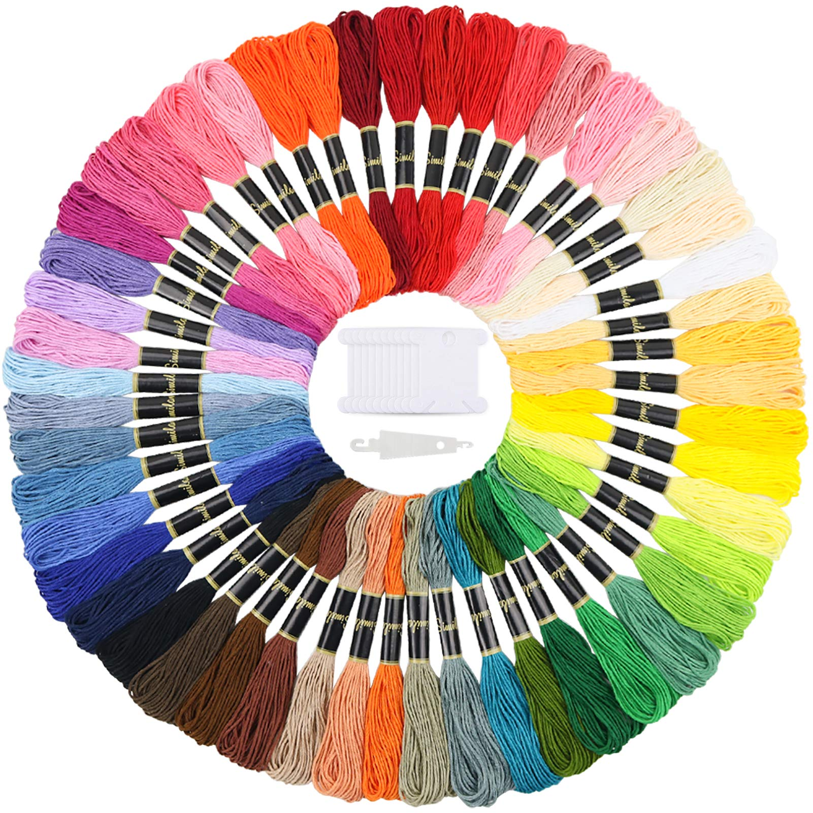 Similane Embroidery Floss 50 Skeins Cross Stitch Thread Rainbow Color Friendship Bracelets Floss Crafts Floss with 12 Pcs Floss Bobbins and 1 Pcs Needle-Threading Tool