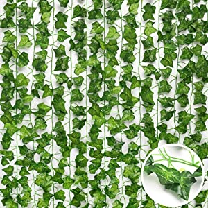 Love-Lucky 12 Strands Artificial Ivy Leaf Plants Vine Hanging Garland Fake Foliage Flowers Home Kitchen Garden Office Wedding Wall Decor, 84 Feet, Green