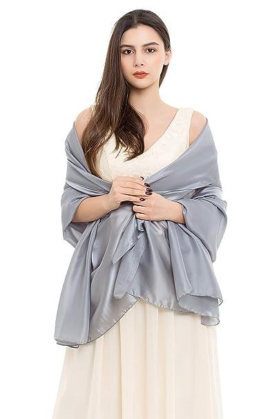 489b5508918 REEMONDE Womens Luxurious Soft Satin Chiffon Bridal Scarf Shawl Wraps  Pashmina for Evening Party (Grey Satin)