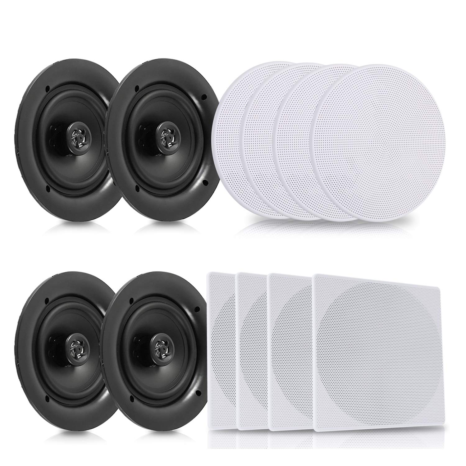 """Pyle 5.25"""" 4 Bluetooth Flush Mount In-wall In-ceiling 2-Way Speaker System Quick Connections Changeable Round/Square Grill Polypropylene Cone & Tweeter Stereo Sound 4 Ch Amplifier 150 Watt (PDICBT256)"""