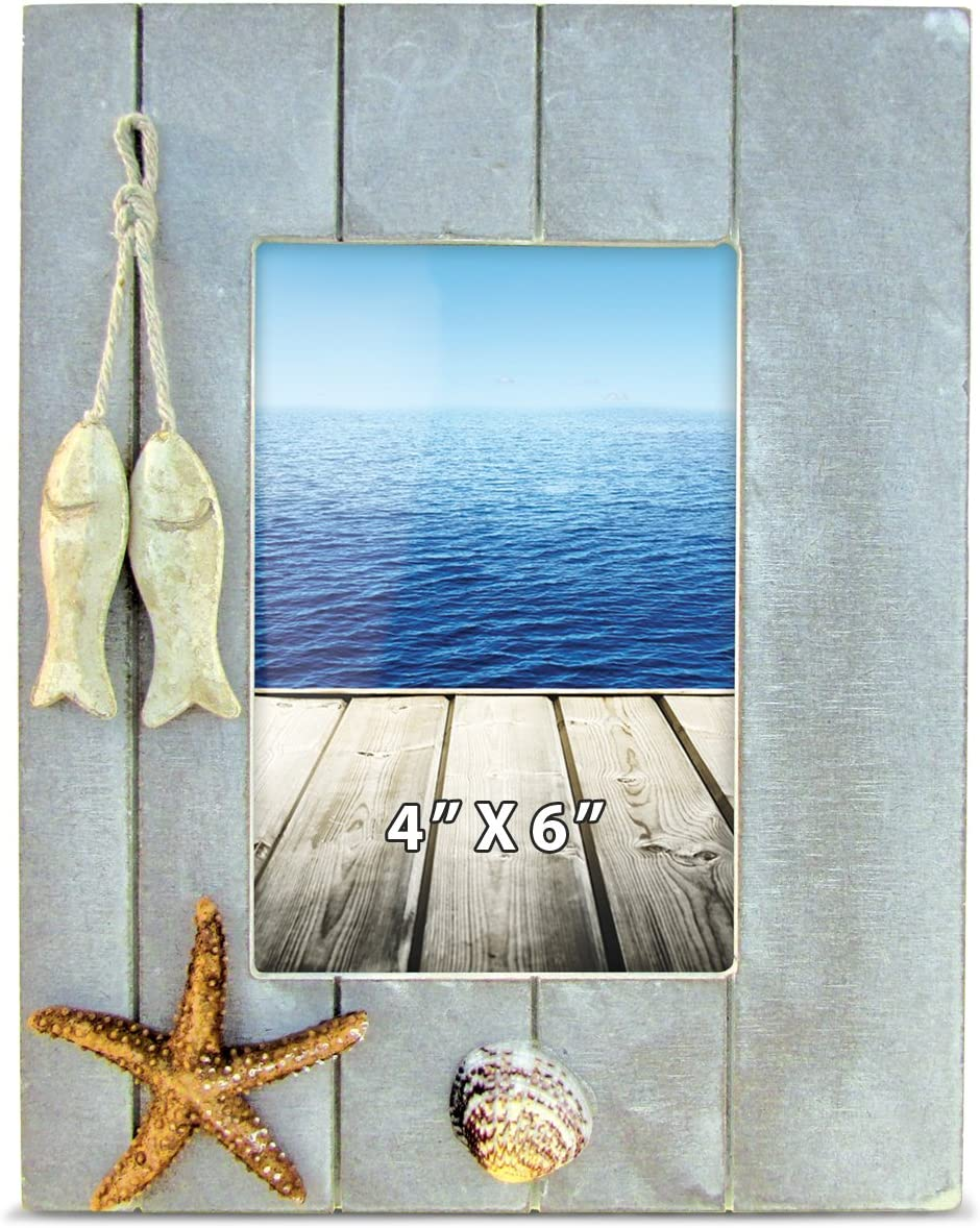 Puzzled Distressed Wooden Picture Frame with Hung Fishes Starfish & Seashells, 4 X 6 Inch Rustic Photo Holder Intricate Wood Art Handcrafted Tabletop Accessory Nautical Themed Home Accent Décor