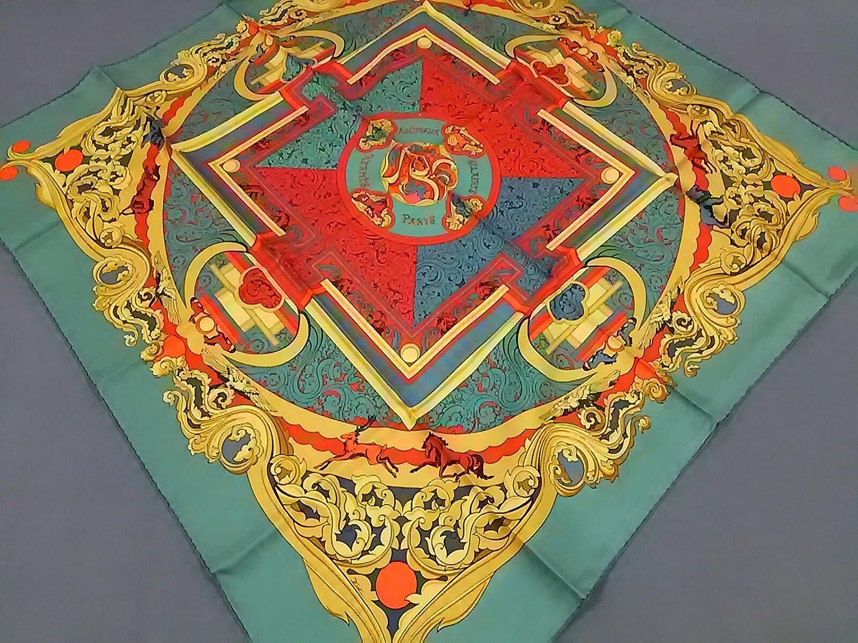 (エルメス) HERMES スカーフ グリーン×イエロー×レッド×マルチ カレ 【中古】 B07F69TPHL  -