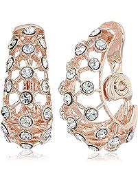 39a48957a Anne Klein Women's Crystal J Hoop Clip Earrings, Rose Gold