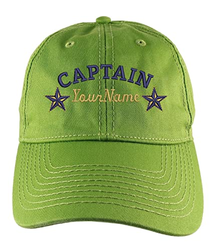 8c8127d9f28f2 Amazon.com  Personalized Captain Stars Your Name Embroidery on Adjustable  Bud Green Unstructured Mid Profile Cap with Option to Personalize the Back   ...