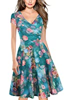 Oxiuly Women's V-Neck Cap Sleeve Floral Casual Work Stretchy Swing Dress OX233
