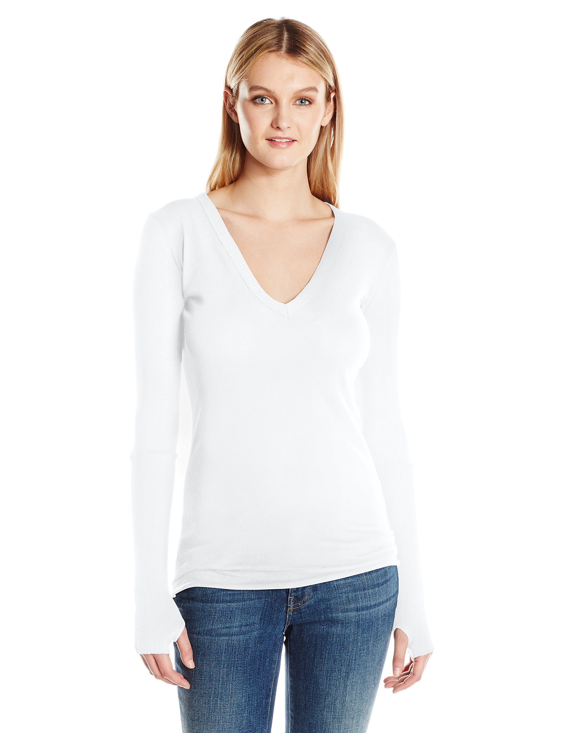 Enza Costa Women's Cashmere Long Sleeve Cuffed V-Neck with Thumbhole, White, S