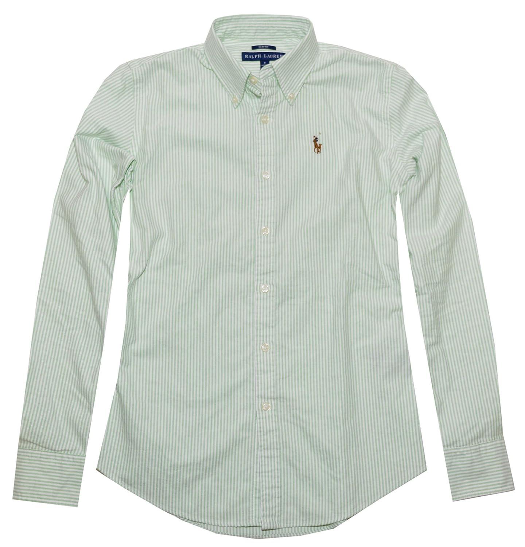 Ralph Lauren Women Slim Fit Oxford Striped Pony Logo Shirt at Amazon  Women\u0027s Clothing store: