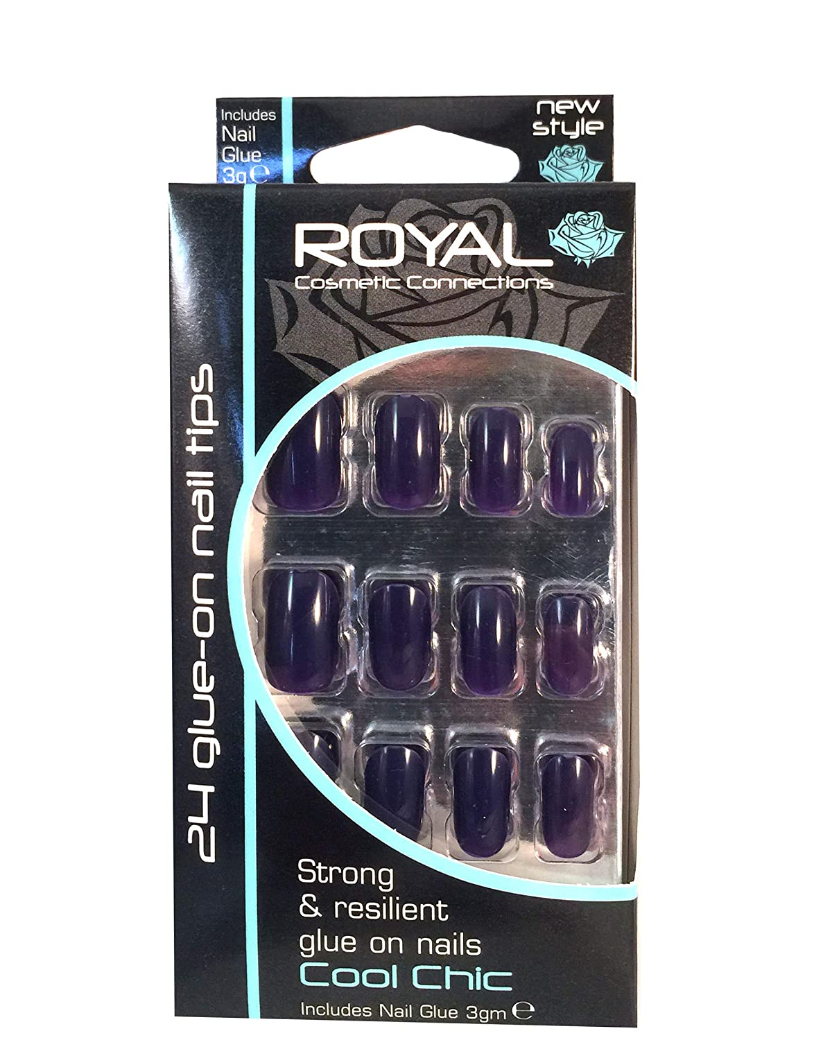 Royal 24 Glue-On Strong & Resilient Nail Tips -Cool Chic: Amazon.es: Belleza