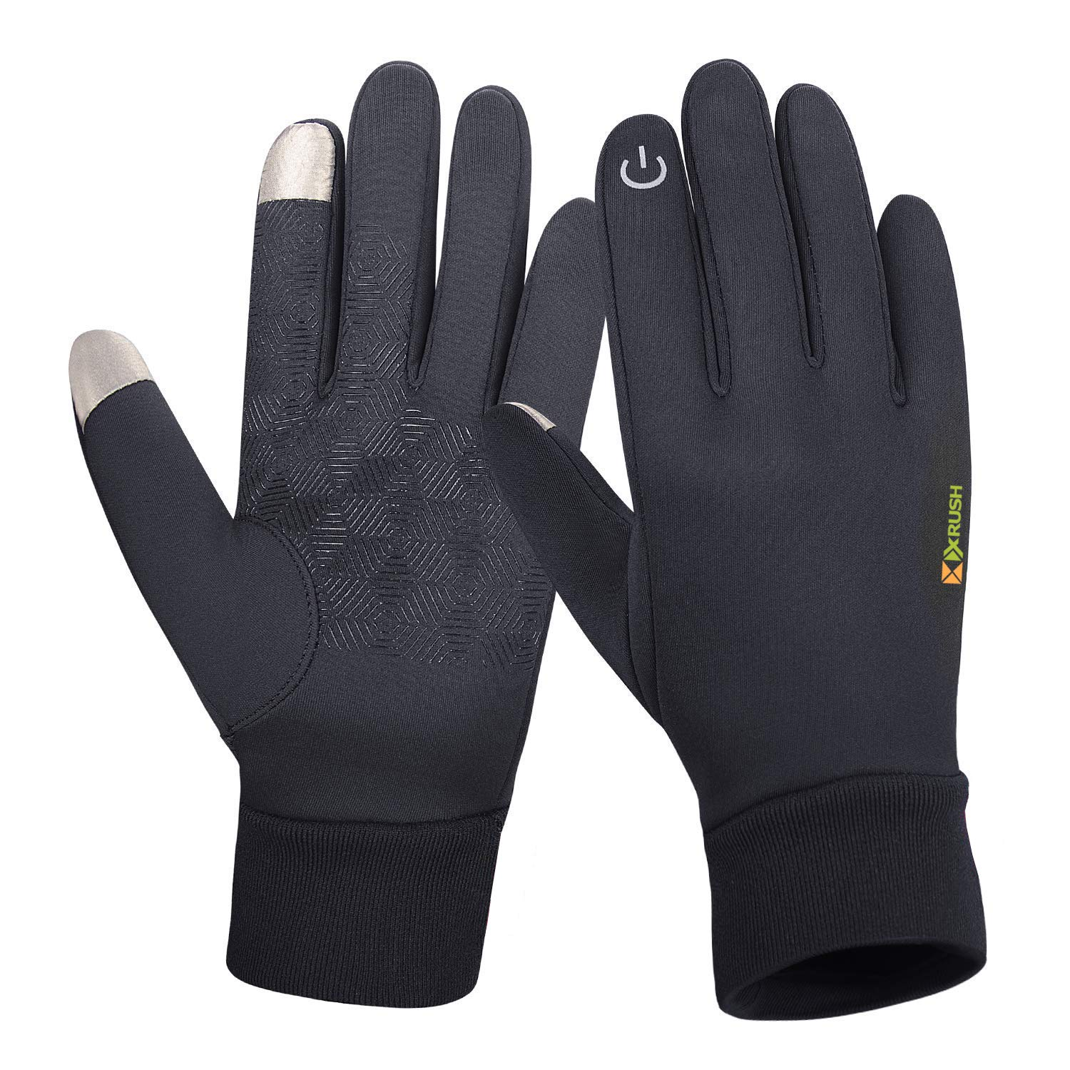 Winter Gloves Touch Screen Gloves Windproof Warm Gloves Cold Weather Running Gloves Driving Gloves for Women Men Cellphone Texting Non-Slip Lightweight for Cycling,Running (Black, Large)