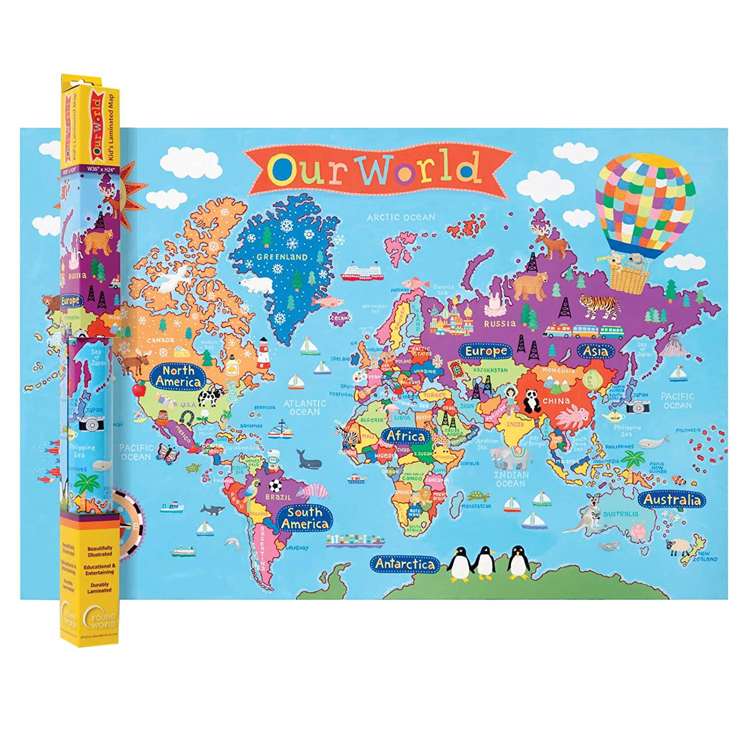 Kid Map Of Africa.Amazon Com Round World Products Rwpkm01bn Kid S World Wall Map 24