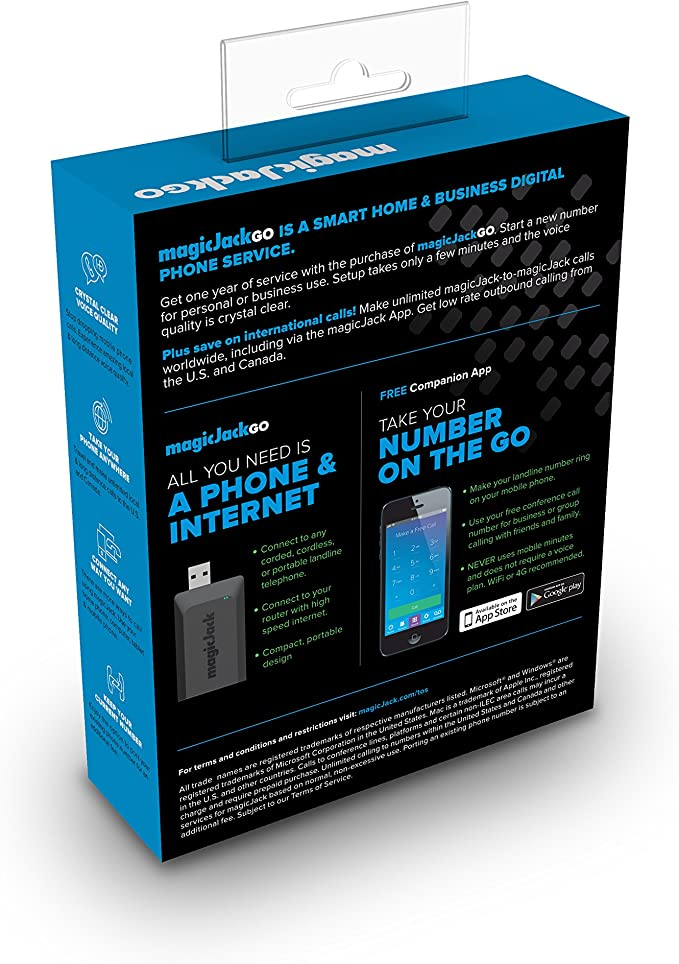 Landline Phone Service >> Magicjackgo 2017 Voip Portable Home Business And On The Go Digital Phone Service That Allows You To Make Unlimited Local Long Distance Calls To