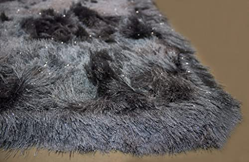 5x7 Feet Gray Grey Color Solid Plush 3D Pile Decorative Designer Area Rug Carpet Rug Bedroom Living Room Indoor Shag Shaggy Shimmer Shiny Glitter Furry Flokati Plush Pile Modern Contemporary