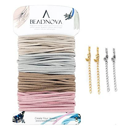 76c08015d1d1d BEADNOVA Flat Leather Cord Fiber Lace Faux Leather Suede Cords Leather  Strip Flat Thread String for Jewelry Making and Bracelets (4 Colors,  3.3yard, ...
