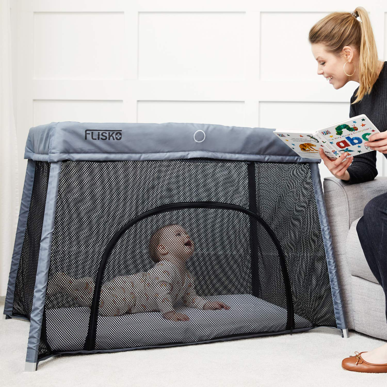 Pack Play-Yard for Infants /& Toddlers Lightweight Mattress /& Fitted Sheet Included Portable Crib Playpen Flisko 2 in 1 Travel Crib /& Bassinet Baby Bed Simple Assembly /& Easily Collapsible