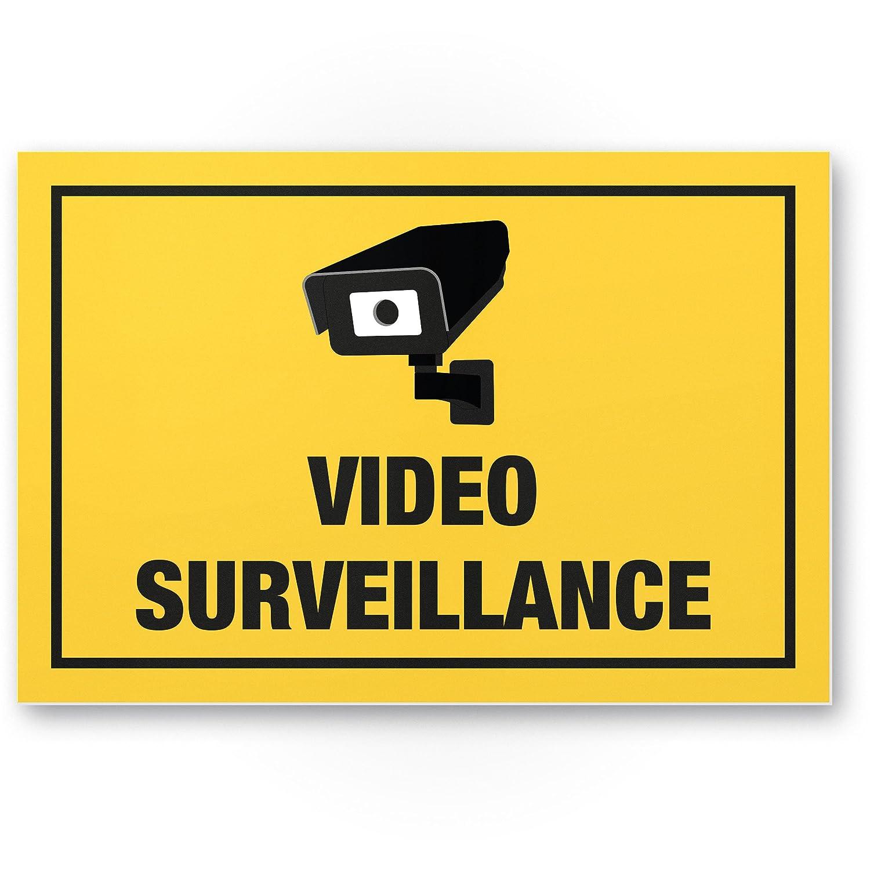 Plage vidé o via de plaque (Jaune, 30 x 20 cm) –  Panneau Attention/Attention vidé o surveillance –  Panneau d'avertissement/pictogramme vidé o via –  dessiné e/a