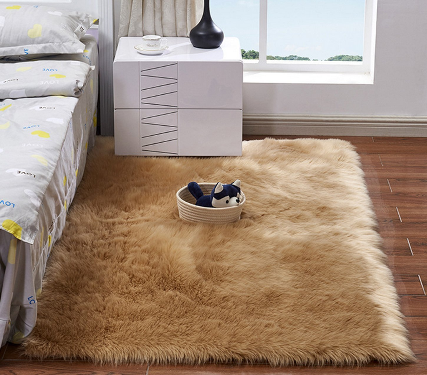 Soft Faux Sheepskin Area Rug Fluffy Shaggy Rugs Thick Chair Cover Seat Pad Plush Fur Floor Carpet Suede Back for Bedrooms Living Room Kids Rooms Decor Rectangle,Brown,5x8ft Large Rug