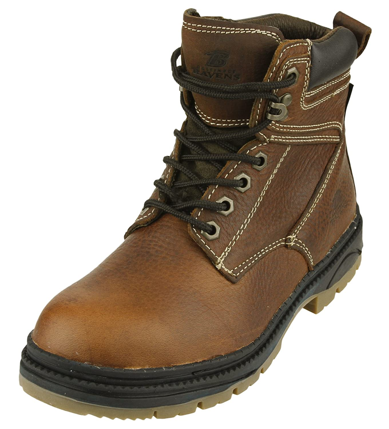 453ac622ba0 NFL Mens Rounded Steel Toe Lace up Brown Leather Work Boots, Team Options