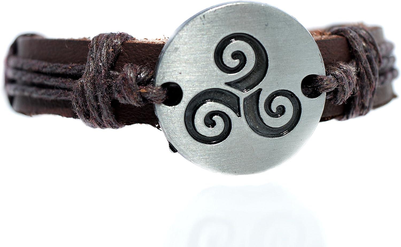 Pulsera de Teen Wolf con diseño de Triskelión de Derek Hale, pulsera de piel con símbolo de lobo