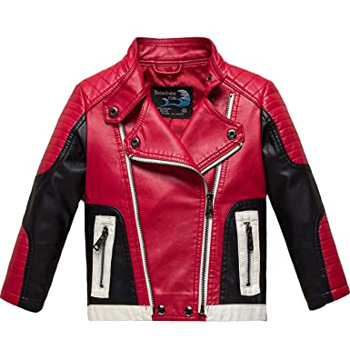 1c358094b1bd Amazon.com  Botaobabe Boys Stand-up Collar Faux Leather Jacket Kids ...