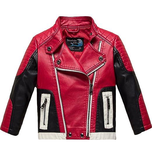 Amazon Com Botaobabe Boys Stand Up Collar Faux Leather Jacket Kids