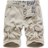 XIONG TAI Mens Stretch Cargo Shorts Relaxed Fit with Pockets Camo Camouflage Shorts Casual Work Shorts(A346 White,40)