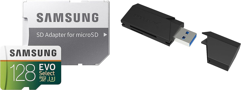 128GB EVO Select Memory Card and Sabrent SuperSpeed 2-Slot USB 3.0 Flash Memory Card Reader