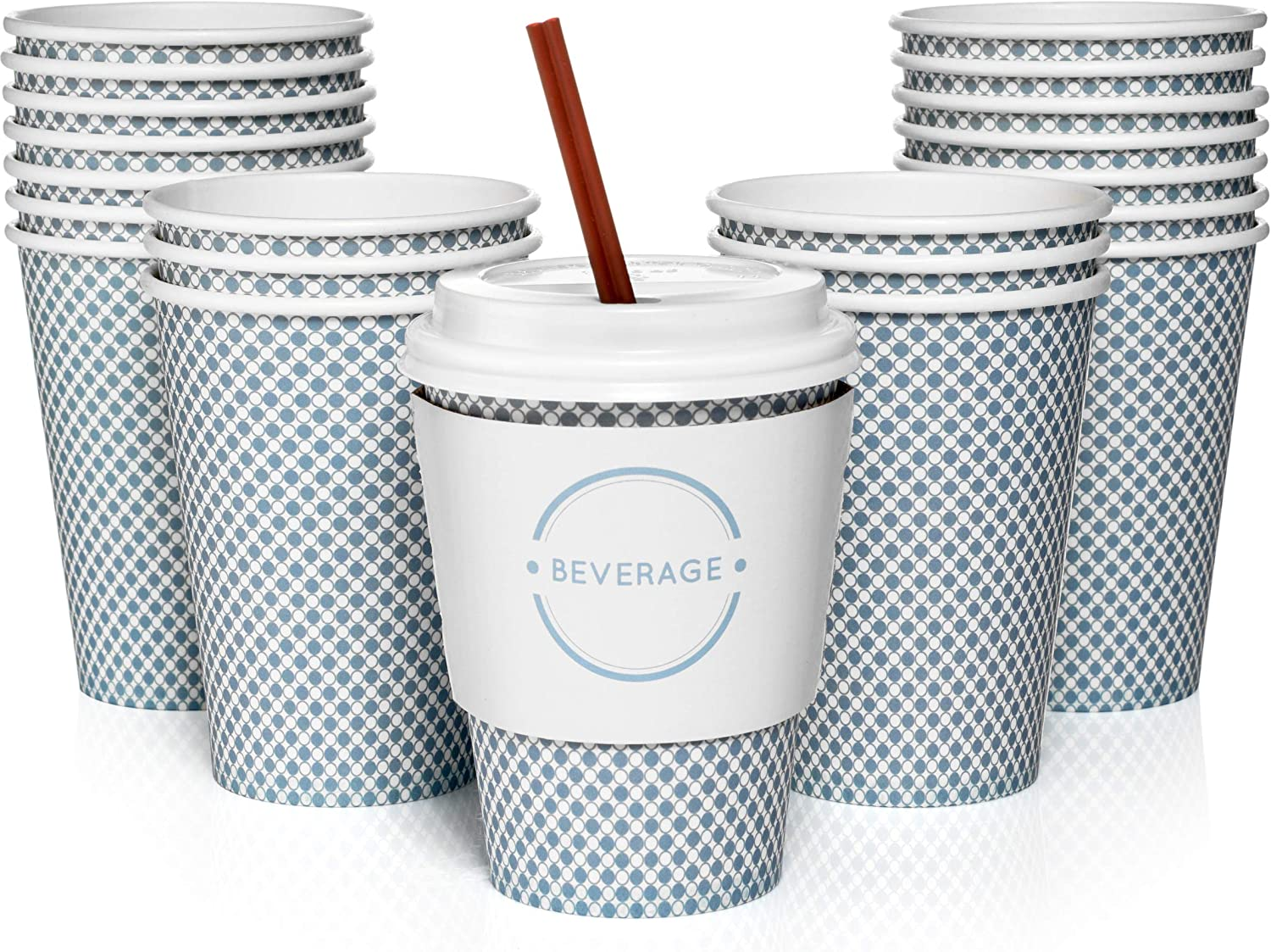 Sweetzer & Orange 12 Oz. Disposable Paper Coffee Cups with Lids (Set of 100) Includes Stir Sticks and Sleeves - Great Checkered Design for Tea, Hot Chocolate, Mochas and Lattes, Too (Blue)