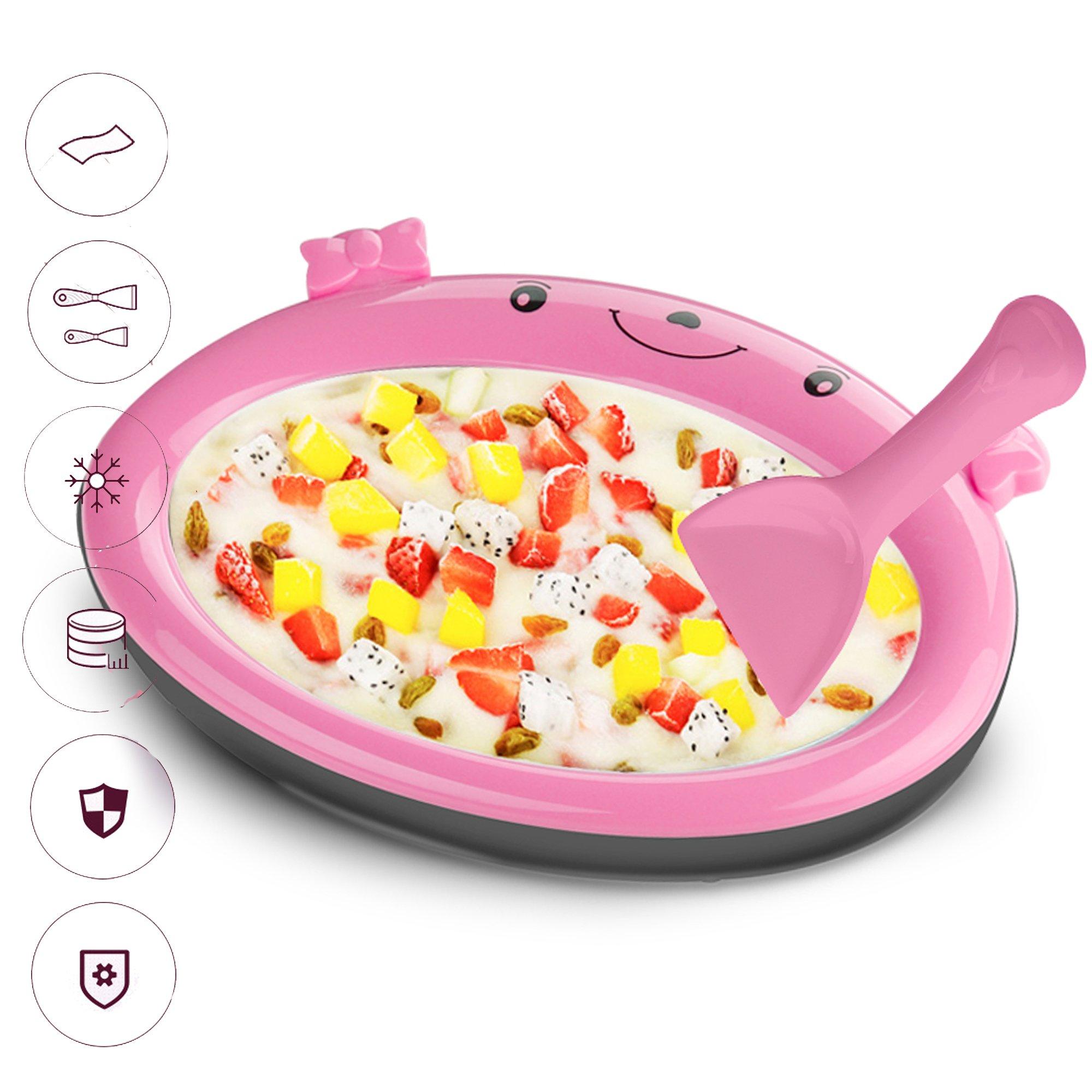 Mini Frozen Yogurt Instant Ice Cream Maker Pan for Kids DIY Fun Ice Plate for Ice Cream Rolls (Pink)