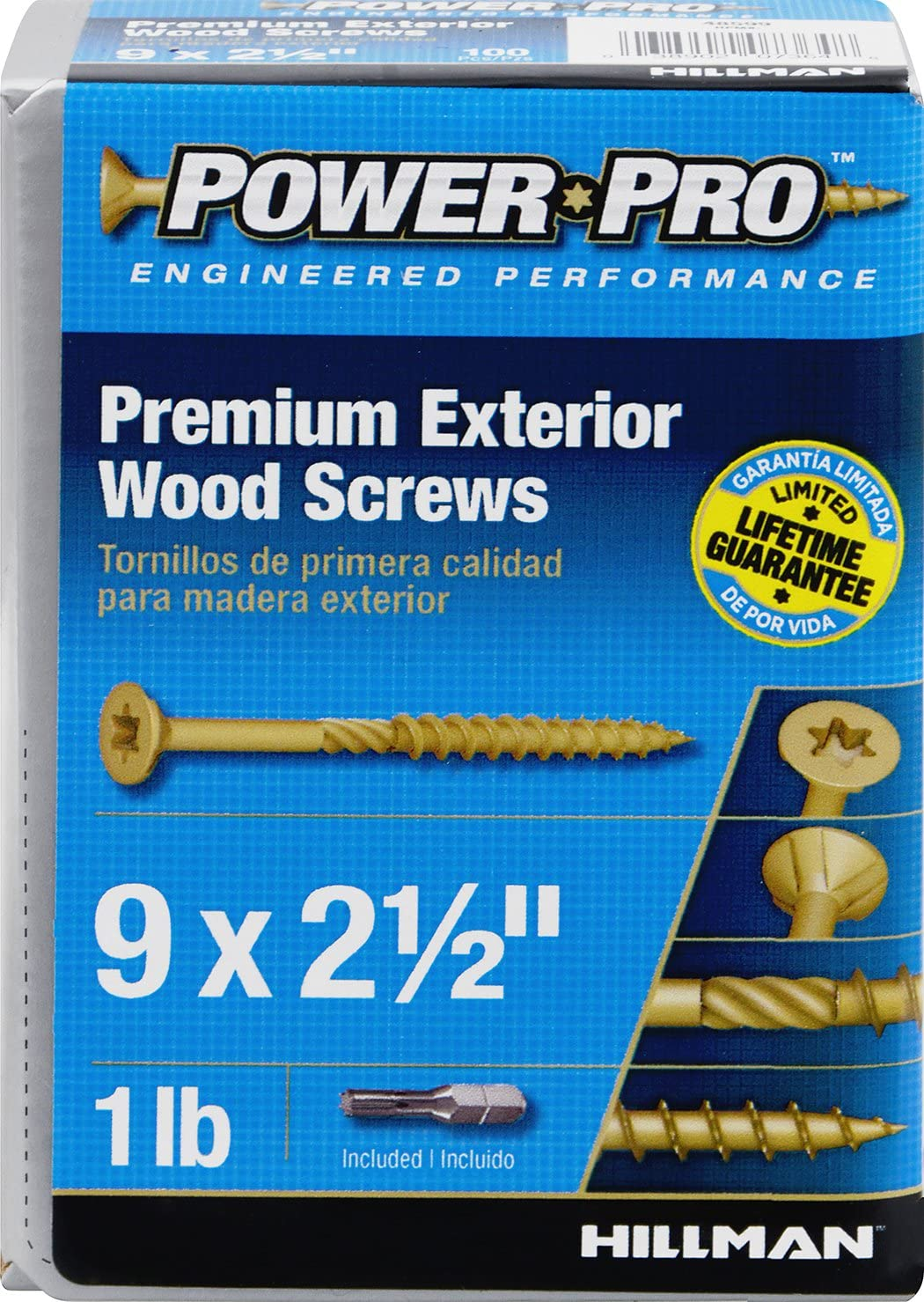 9 X 2 1//2-Inch 107 Pack Hillman 48599 Power Pro Premium Exterior Wood Screw
