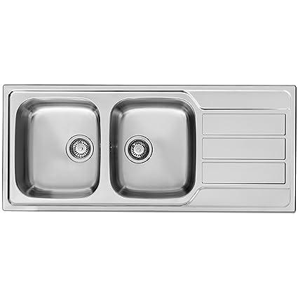 Pyramis 107163101 fregadero de cocina de acero inoxidable (suave) con doble cuenco de Athena